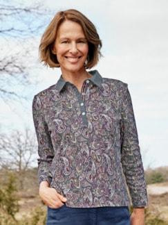 Baumwoll-Poloshirt Everyday Grau gemustert Detail 1