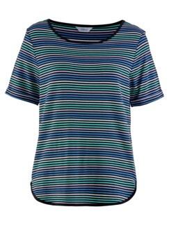 Freizeit-Shirt Streifen Blau Detail 3
