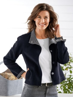 Kaschmir-Wendejacke Supersoft Marine/Grau Detail 1
