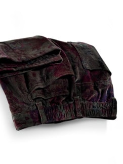 Komfortbundhose Stretch-Cord Aubergine gemustert Detail 3