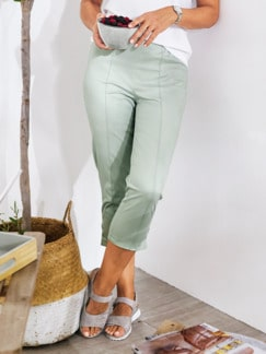 Caprihose Baumwoll-Highstretch Mint Detail 1