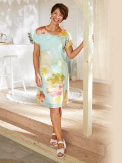 Kleid Blumenaquarell Aqua gemustert Detail 2