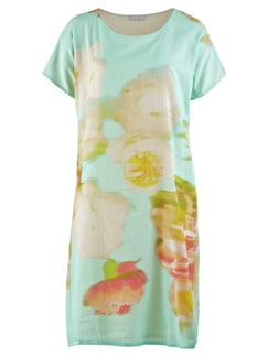 Kleid Blumenaquarell Aqua gemustert Detail 3