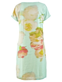 Kleid Blumenaquarell Aqua gemustert Detail 4