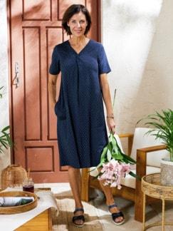 Haus-und Gartenkleid Sommerdruck Blau gepunktet Detail 2