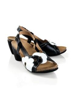 Hallux-Sandalette-Blütentraum Schwarz/Weiß Detail 1