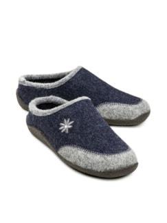 Wollfilz-Pantolette Edelweiß Blau Detail 1