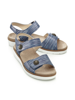 Klett-Sandale Supersoft Blau meliert Detail 1