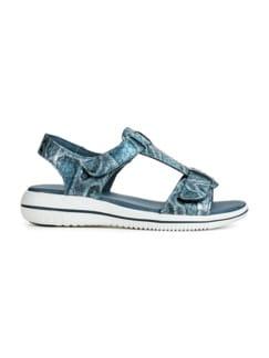 Green Comfort-Sandale Vario Blau bedruckt Detail 2
