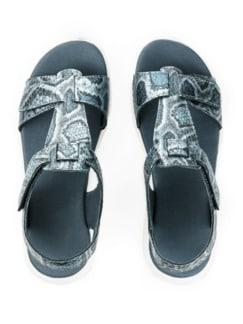 Green Comfort-Sandale Vario Blau bedruckt Detail 4