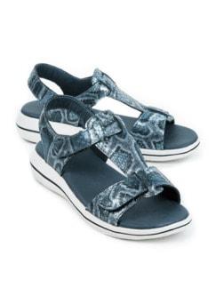 Green Comfort-Sandale Vario Blau bedruckt Detail 1