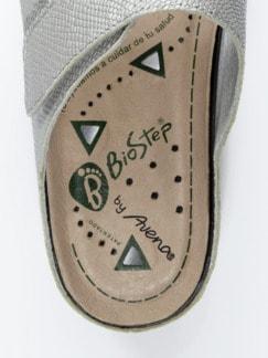 Magnetfußbett-Klett-Pantolette Grau Detail 3