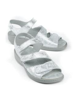 Klett-Sandale Memory Silber gemustert Detail 1