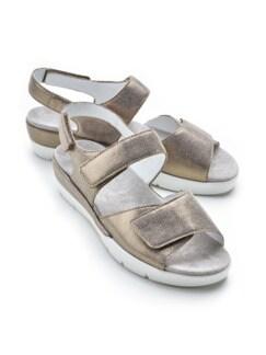 Klett-Sandale Extraweit Beige metallic Detail 1