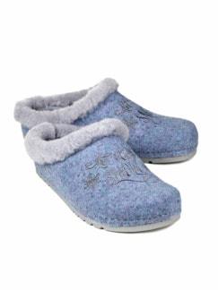 Lammfell-Pantolette Schneeflocke Blau meliert Detail 1