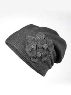 Schurwoll-Beanie mit Strassblume Dunkelgrau Detail 1