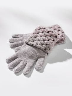 Strick-Handschuhe Thermo Grau/Rosé Detail 1