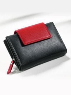 Leder-Geldbörse Schwarz/Rot Detail 1
