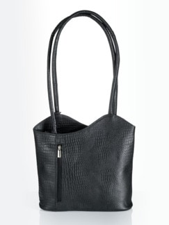 Leder-Rucksack-Tasche Schwarz Detail 1