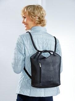 Leder-Rucksack-Tasche Blau Detail 3