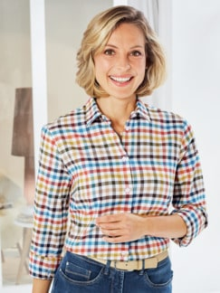 Flanellbluse Supersoft Multicolor kariert Detail 1
