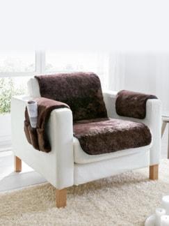 Lammfell-Sesselauflage Dunkelbraun Detail 1