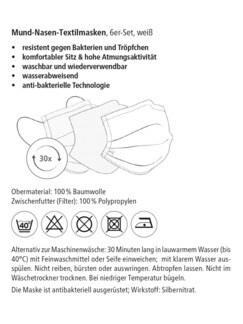 Mund-und Nasen-Textilmasken 6er Set Weiß Detail 4