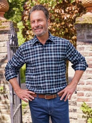 Karo-Flanell-Hemd Reißverschluss