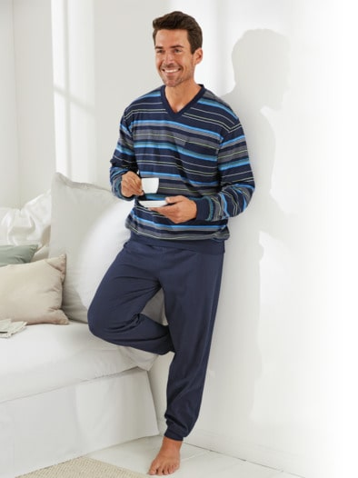 Baumwoll-Schlafanzug Sommerstreifen
