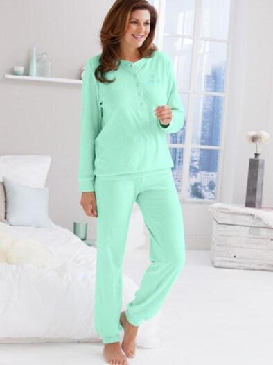 Frottier-Stehkragen Schlafanzug