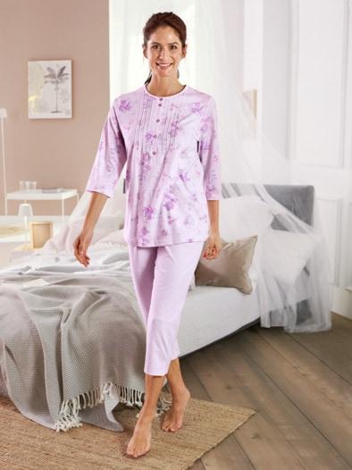 Baumwoll-Schlafanzug Blütendessin