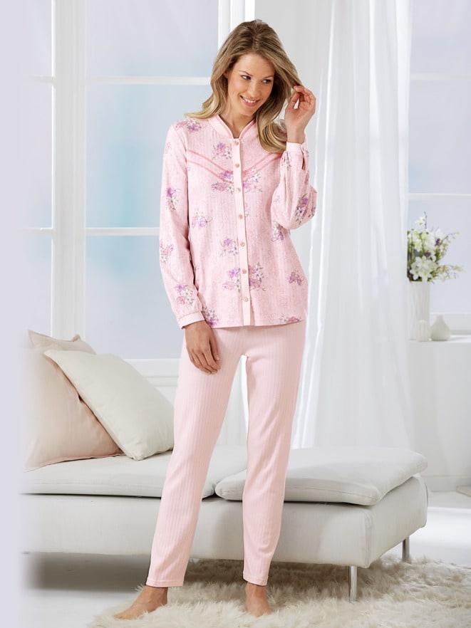 Thermo-Schlafanzug Blütendessin