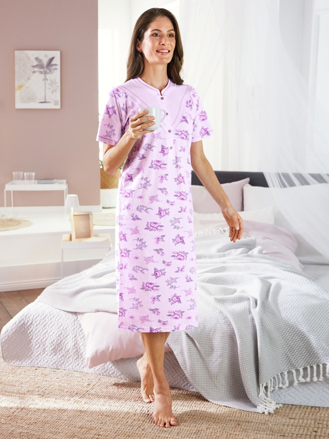 Baumwoll-Nachthemd Blütendessin