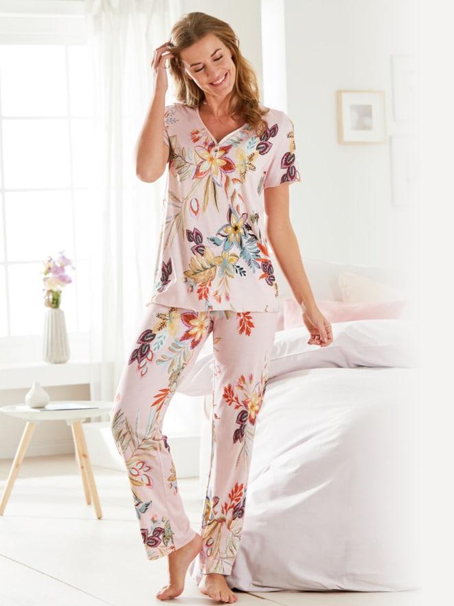 Supersoft-Schlafanzug Blumendessin