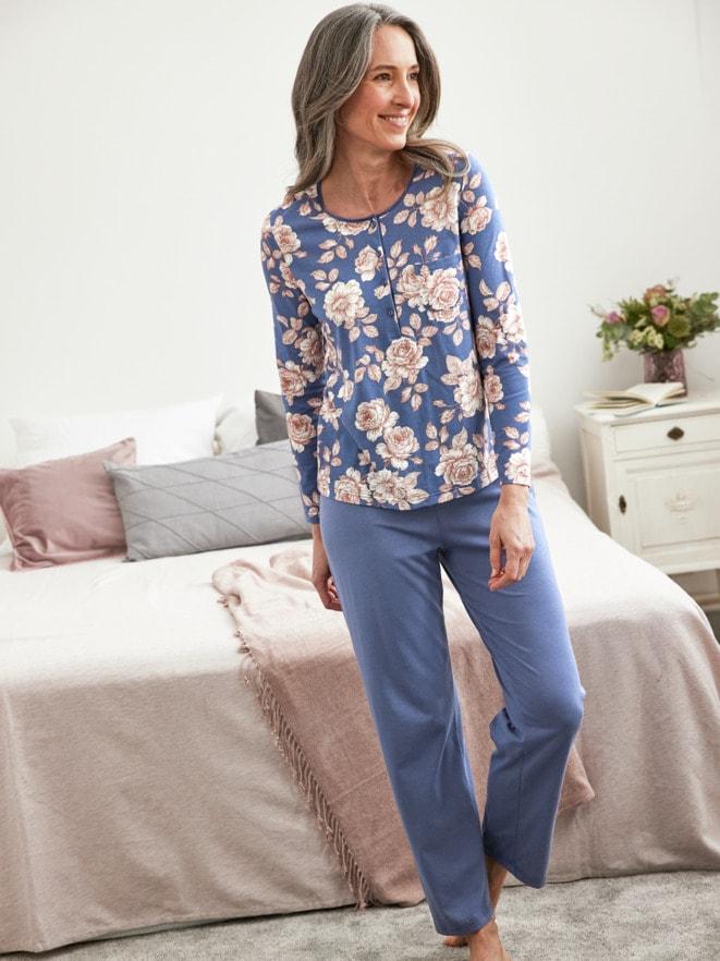 Schlafanzug Rosenprint