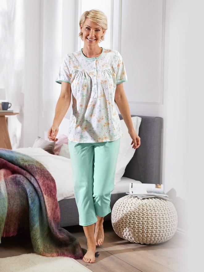 Baumwoll-Schlafanzug Zarte Blüte