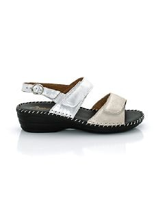 Supersoft-Sandalette Seidenglanz Silber Detail 9